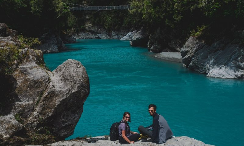 Traveling couple in New Zealand, West Coast, Greymouth