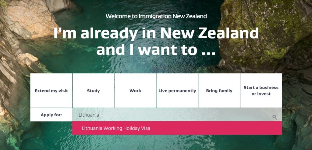 New Zealand Working Holiday Visa scheme Lithuania